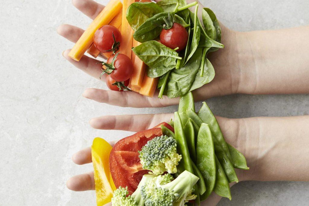 размерът на порциите – зеленчуци и плодове