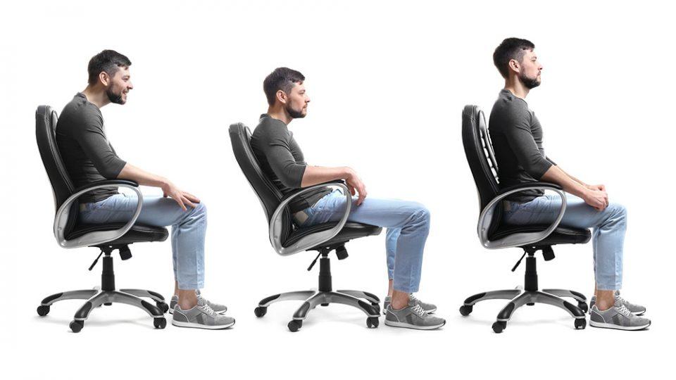 правилна стойка – седене на стол